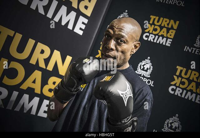 Former World Boxing Champion Frank Bruno ambassador INTERPOL's Turn Back Crime campaign Bollywood Shah Rukh - Stock Image