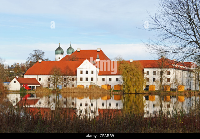 Seeon abbey today is th cultural and educational center of the government of the administrative region of Oberbayern - Stock Image