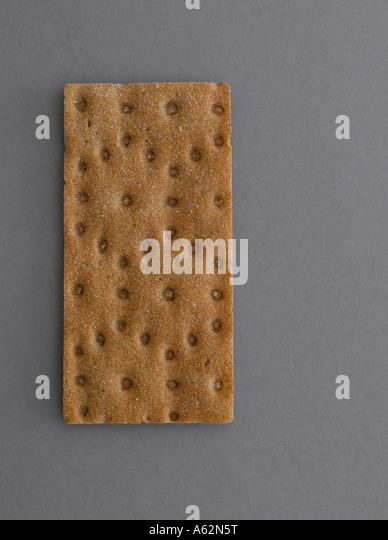 Rye crispbread on grey background shot with professional medium format digital - Stock Image