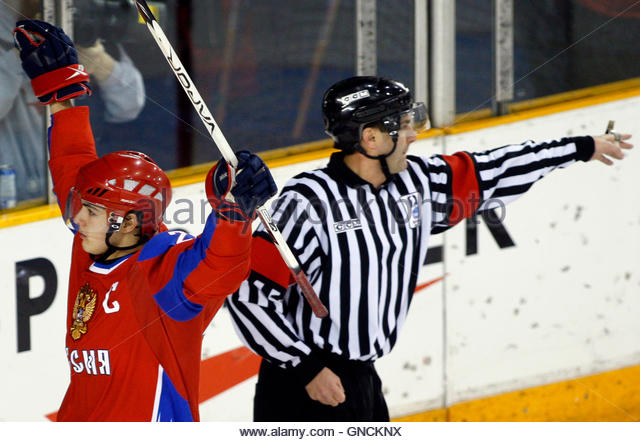 Team Russia captain Nikita Filatov (L) celebrates his goal against Team Slovakia during the second period of their - Stock Image