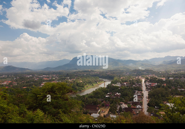 View of the Nam Khan river and the town of Luang Prabang from Phou Si Hill, Luang Prabang, Laos PDR - Stock Image