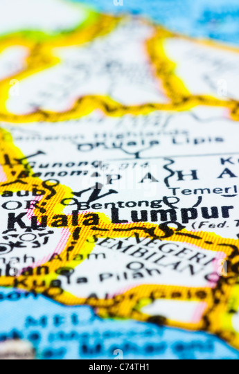 a close up shot of kuala lumpur on map, capital city of Malaysia - Stock Image