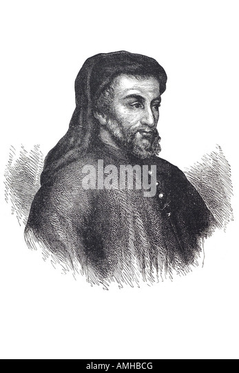 geoffrey Chaucer 1342 1400 poet writer Canterbury Tale author head shoulder London Greater capital England English - Stock Image