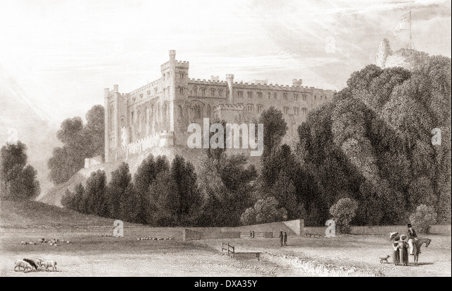 19th century view of Arundel Castle, Arundel, West Sussex, England. - Stock Image