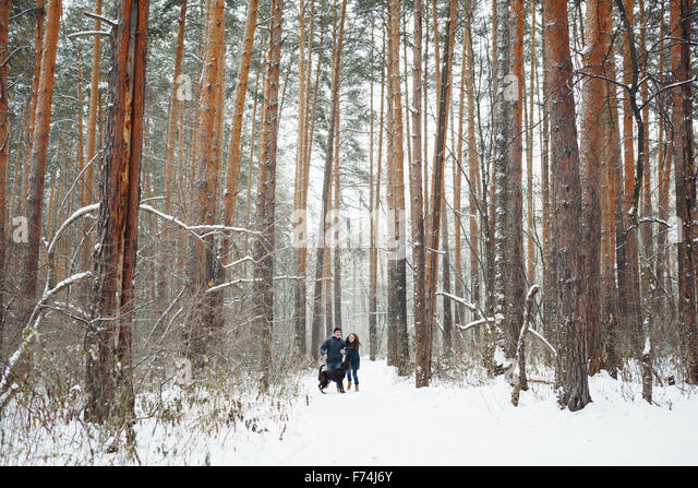Young Couple with a Dog Having Fun in Winter Forest on Holidays. General View. Copy Space for Text. - Stock-Bilder