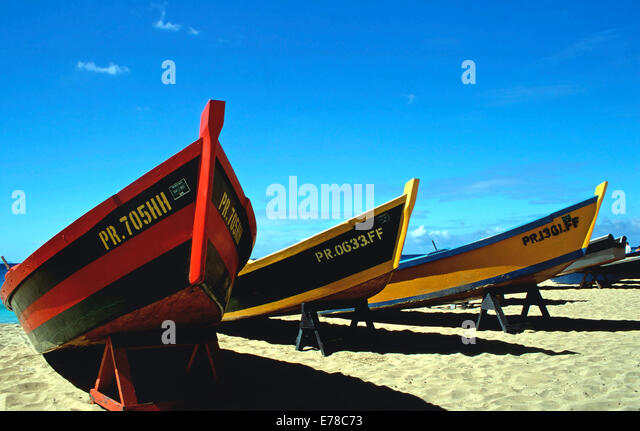 Colorful fishing boats,Crash Boat Beach,Aguadilla,Puerto Rico - Stock Image