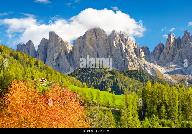 Landscapes in Dolomites Mountains in autumn, Tyrol province, Alps, Italy - Stock-Bilder
