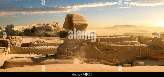 Sphinx in sand desert at the sunset - Stock Image