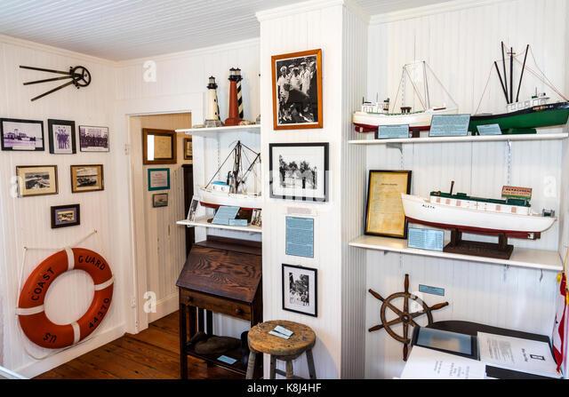 North Carolina NC Outer Banks Ocracoke Island Ocracoke Preservation Society museum David Williams house inside exhibit - Stock Image
