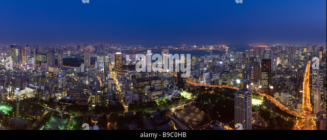 Evening cityscape of south east Tokyo - Stock Image