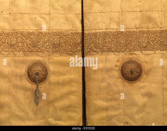 Close-up of a gate of Punakha Monastery, Punakha, Bhutan - Stock Image