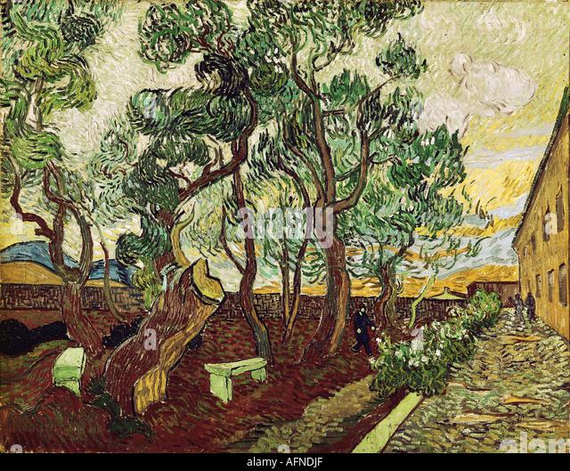 """""""fine arts, Gogh, Vincent van, (1853 - 1890), painting, """"le jardin de la maison des alines de Saint Remy"""", - Stock Image"""