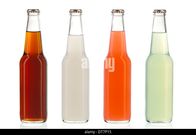 Four assorted soda bottles, non-alcoholic drinks - Stock Image