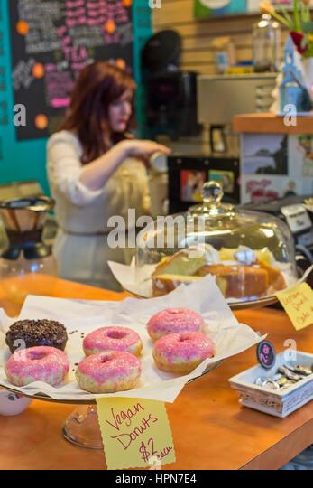 Flint, Michigan - Vegan donuts on sale at the Flint Farmers Market. - Stock Image