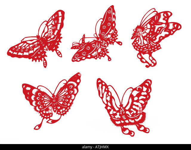 butterfly silhouette with clipping path - Stock Image