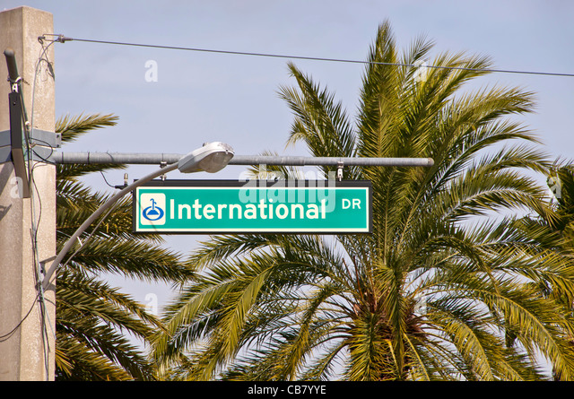 International Drive I-Drive sign with palm trees Orlando Florida - Stock Image