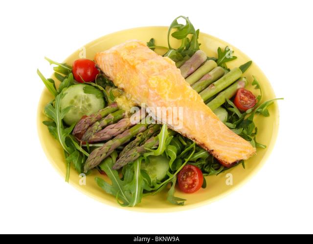 Salmon Steak with Alioli and Salad - Stock Image