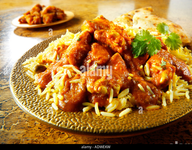 Indian Meal - Chicken Madras curry with Pilau - Stock Image