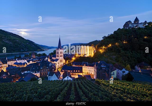 Bacharach at Rhine River, Germany - Stock Image