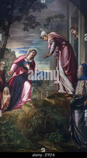 The Visitation, by Tintoretto, circa 1549, National Art Gallery of Bologna, Pinacoteca Nazionale di Bologna, Emilia - Stock Image