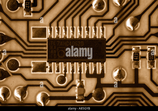 Microchip on a Circuit Board, Close Up. - Stock Image