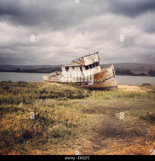 Shipwrecked boat, Marin County,  California, America, USA - Stock Image