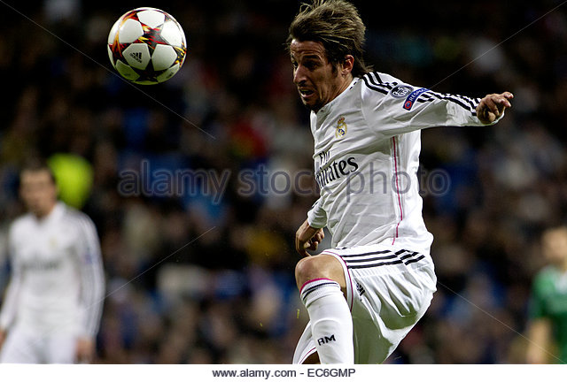 SPAIN, Madrid: Real Madrid's Portuguese Defender Fabio Coentrao during the Champions League 2014/15 match between - Stock Image