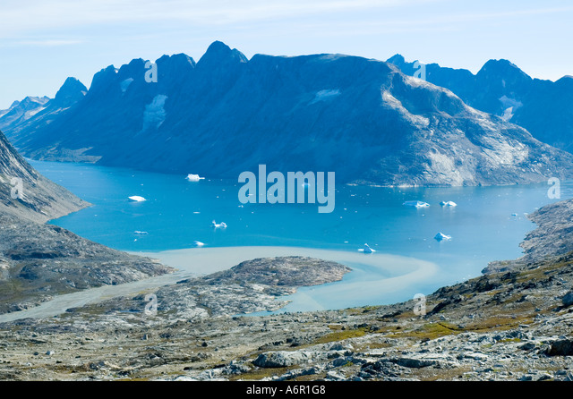 Looking across Ikâsagtivaq Fjord to Angmagssalik Island from the Tiniteqilâq ridge, Sermilik Fjord, East - Stock Image