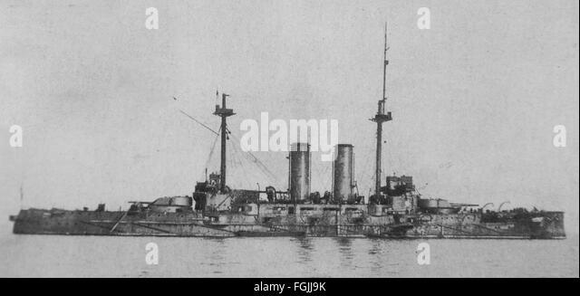 Imperial Japanese Navy battleship Mikasa. - Stock Image