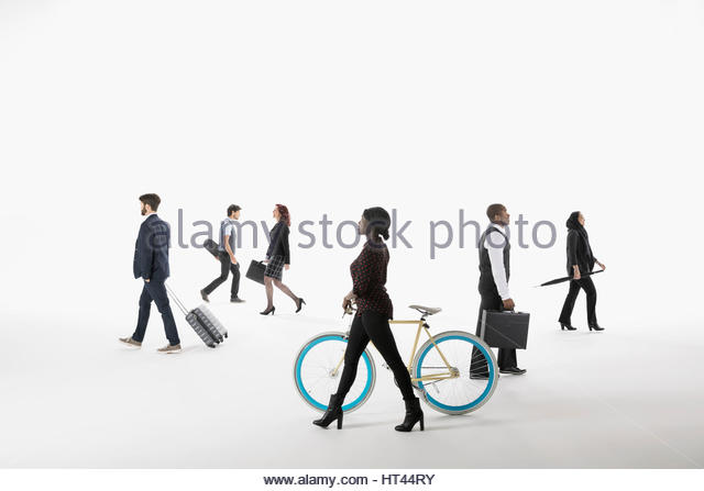 Business people commuting and traveling against white background - Stock-Bilder
