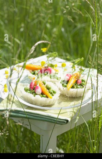 Vegetable tartlets - Stock Image