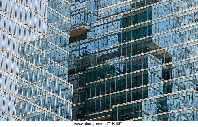 Detail of office block glass facade in Dongdaemun district in Seoul, South Korea - Stock Image