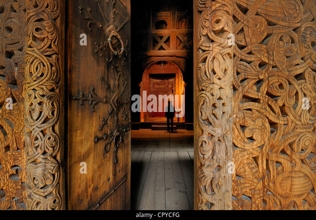 Norway, Oslo, Bygdoy Peninsula, Norsk Folkemuseum (Norwegian Folk Museum), Gol stave wooden church - Stock Image