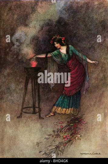 Medea, by Warwick Goble, from The Complete Poetical Works of Geoffrey Chaucer, 1912. - Stock Image