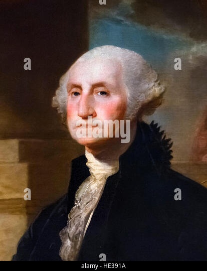 George Washington, portrait by Gilbert Stuart, oil on canvas, 1797. This image is a detail from a larger painting, - Stock Image