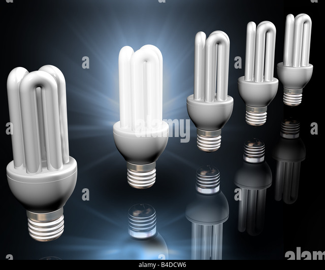 Illustration of a bright idea amongst energy saving light bulbs - Stock Image