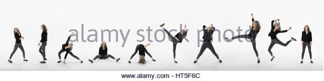 Sequence of woman dancing and kicking against white background - Stock-Bilder