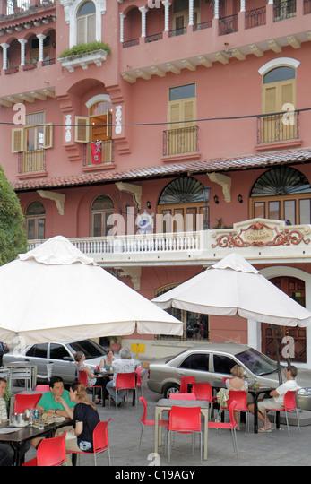 Panama Panama City Casco Viejo San Felipe historic restoration preservation Hotel Colombia cafe restaurant al fresco - Stock Image