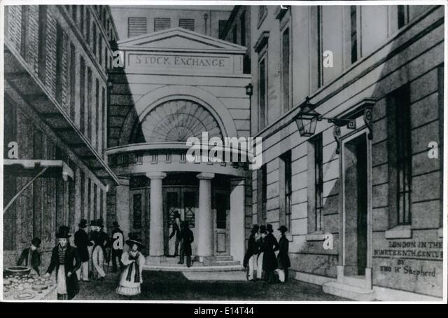 Apr. 18, 2012 - Illustrated Stock Exchange. OPS:- This is how it was in 1801, when they opened the building we know - Stock Image