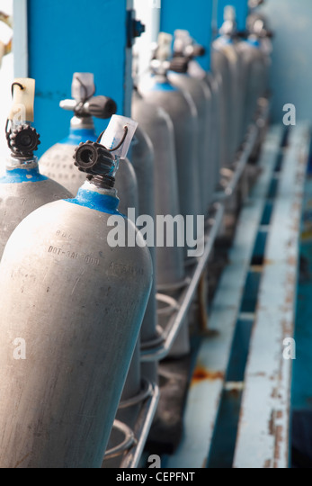 scuba tanks on a dive boat; koh tao, thailand - Stock Image