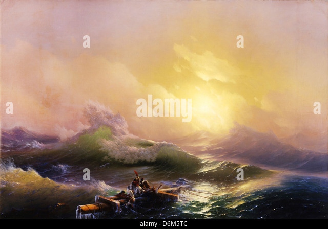Ivan Aivazovsky, The Ninth Wave 1850 Oil on canvas. State Russian Museum, Saint Petersburg, Russia - Stock-Bilder