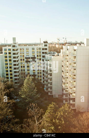 Apartment buildings in city center - Stock Image