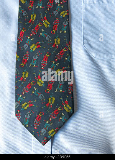 Interesting vintage golfing rapture tie, male neckware in silk - Stock Image