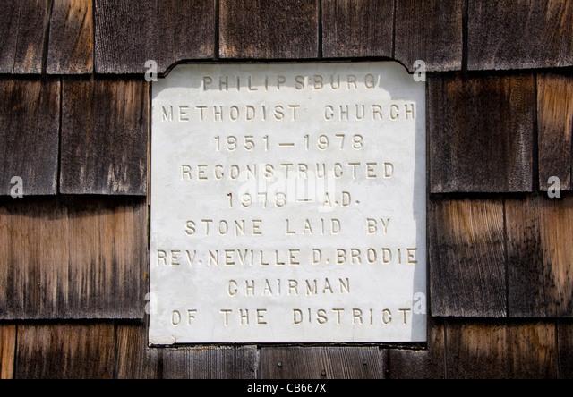 St Maarten Philipsburg Methodist Church marble marker sign - Stock Image