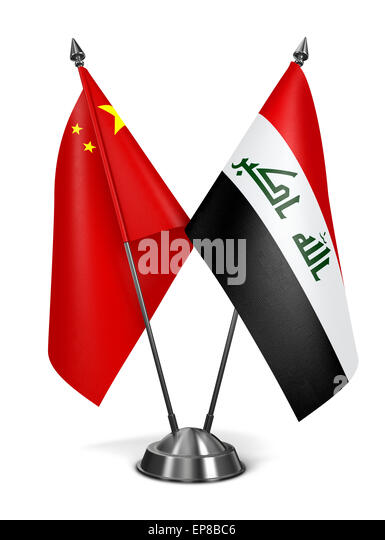 China and Iraq - Miniature Flags Isolated on White Background. - Stock Image