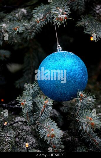 Glittering blue hanging ball decoration on Christmas tree - Stock Image