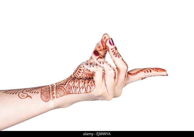 Woman hand with henna doing Bronchial mudra isolated on white background with clipping path - Stock-Bilder