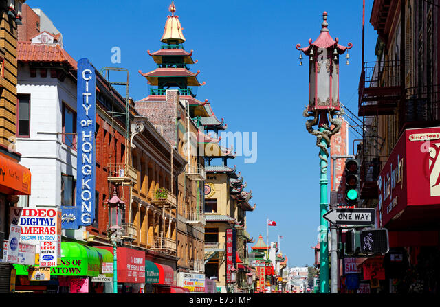 Buildings in Chinatown, San Francisco, California, USA - Stock Image