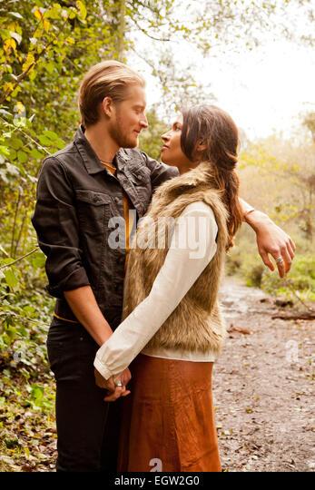 Woman and man embracing. - Stock-Bilder