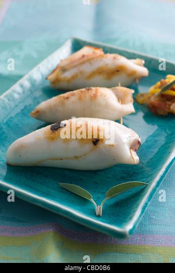 Calamari stuffed with herbs - Stock-Bilder
